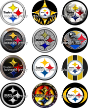 STEELERS FOOTBALL glass Snap button Jewelry Charm Popper for Snap Jewelry good quality picture pendant Gl342 BOBOSGIRL(China)
