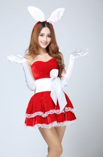 FREE PP! Miss Santa Clause Bunny Costume Girl Christmas Bunny Dress + ear+gloves