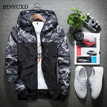 BINYUXD Men Bomber Jacket Thin Slim Long Sleeve Camouflage Military Jackets Hooded 2017 Korean Style Army Brand Clothing
