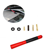 "Universal Red Carbon Fiber 4.7"" 12cm AM FM Radio Antenna for Toyota Honda VW most car with Screw Type Antenna Base #PDK633-2"