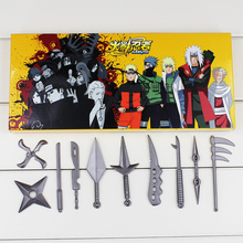 10Pcs/Set NARUTO Hatake Kakashi Deidara Kunai Shuriken Weapons Metal Pendant Cosplay Model Toys