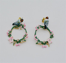 European and American fashion enamel glaze Semi-precious stones cherry blossom vines magpie 925 female earrings(China)