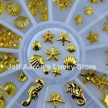 Beauty 3D Metal Nail Art Decoration Accessories Gold Nail Supplies Wheel Manicure Shell Starfish Hippocampus Design