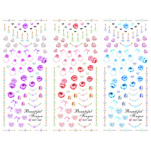 3 PACKS / LOT JEWEL HEART FINGER RING NAIL CROSS TATTOOS STICKER WATER DECAL NAIL ART HOT322-324(China)