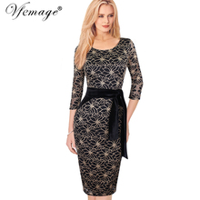 Vfemage Womens Elegant Vintage Lace Flower Print Belted Tunic Casual Party Pencil Sheath Dress 4255(China)
