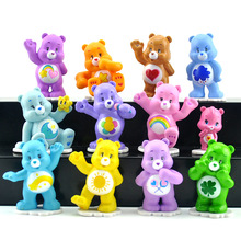 Kawaii Cartoon Peppets Care Bears Rainbow Love Teddy bear Action Figure Children Toys 12PCS Per lot 4-5cm(China)