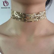 DANZE 3 Color Fashion Handmade Gold silver Color metal Mesh Choker Necklaces Women Elegant Metal Chockers Colar Collier Femme