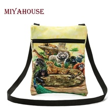 Miyahouse Colorful 3D Animals Printed Messenger Bag For Girl Summer Ladies Mini Flap Shoulder Bag Casual Canvas Female Small Bag
