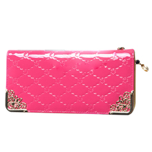 Women's Long section  fashion High capacity Quilted Patent leather clutch Rose red