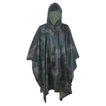 Multifunction Military Woodland color Raincoat Men&Women's Raincover Perfect for Hiking Camping as Poncho Awning shelter(China)