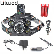 z30 Led Headlamp 5 Chips XML T6 LED Headlight powerful 12000 Lumen Head Flashlight head 4 Switch Model use 18650 Battery
