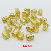 100pcs/lot Golden/Silver /Mix Silver Golden hair braid dread dreadlock beads adjustable clips approx 7.5mm hole(China)