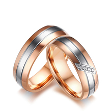 Rose gold color wedding rings couple bands pair for men and women wholesale tail ring aliancas de casamento em par party rings(China)
