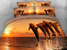 JF-046 Dolphins jump out of water Ocean bedding sets super king size 260*220cm duvet cover set 3D bed sheets for kids single bed(China)