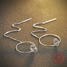 Hollow circle anime earring, 925 sterling silver long drop white crystal earring for Christmas gift(DE459)