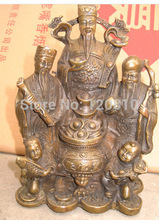 Free Shipping Good luck in China three fairy mascot life and officer bronze statue 18cm H