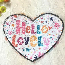 Embroidery patch up and down filp piece double sided sequins 19cm heart Hello Lovely HAPPY DAYS deal with it patches for clothes