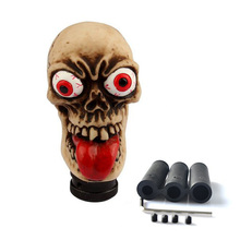 Creative Red Tongue Beige Bone Style Skull Gear Stick Shift Knob Car Truck Autoamtic Manual Shifter Knobs Lever
