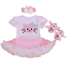 Hello Kitty 2016 Baby Girl Summer Clothing Sets Lace Rompers For Toddlers Crib Shoes Headband 3PCS Birthday Outfit Kids Clothes