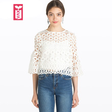Drop Ship High-grade Hollow Out Circle Lace Womens Three Quarter Flare Sleeves Short Crop Tops Female White Blouse Shirt XXL