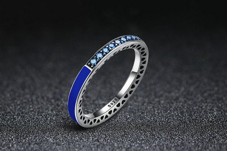 100% 925 Sterling Silver Radiant Hearts of Princess Blue Enamel & Royal Blue Crystal Ring