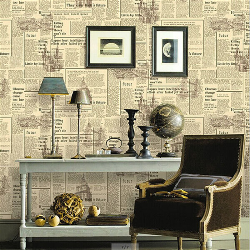 papel parede- New Vintage Newspaper Wallpaper Bar Cafe Decoration Wall Paper Retro English Letters Project Wallpapers Papel de P<br><br>Aliexpress