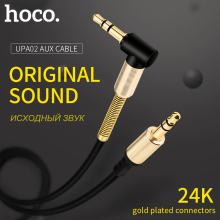 HOCO Aux Cable Gold-Plated 3.5mm Jack Male to Male 90 Degree Audio Cable Jack 3.5 for Car iPhone MP3 / MP4 Headphone Speaker(Hong Kong)