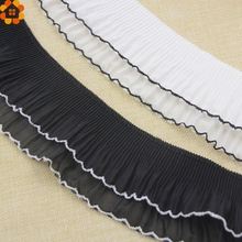 3Yard 7cm White&Black Lotus Leaf Lace Trim Handmade Patchwork Material Lace Ribbon DIY Sewing&Headwear Accessories Decoration