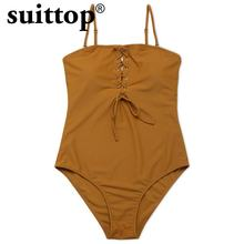 suittop Swimwear Women 2017 Summer New Hot Sexy Maillot De Bain Push Up Solid Yellow Swimsuit Halter One Piece Bathing Suit