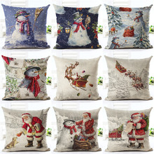 Happy New Year Gift Christmas Tree Pillow Cases Stug Snow Cushion Covers 45X45cm Flower and Birds Decor Sleigh Ride Seat Covers(China)