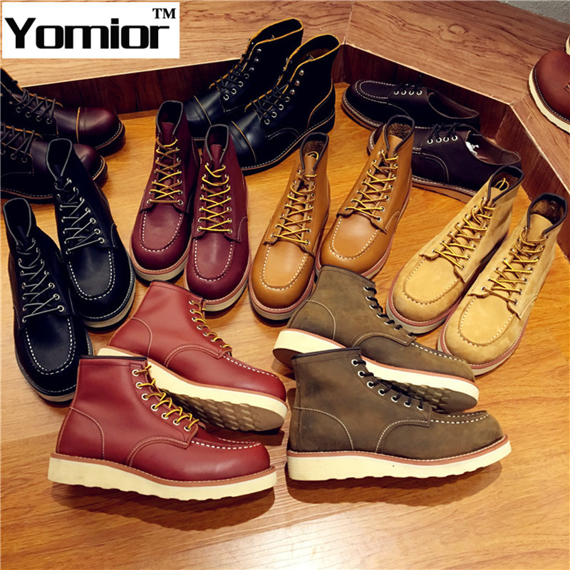 Genuine Leather Martins Men Boots Red Snow Boots Wing Military Casual Quality Leather Footwear Walking Shoes Winter Bota 875<br><br>Aliexpress