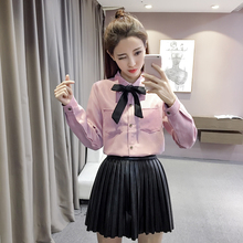 Preppy Style Cute Women Shirts Peter pan Collar Bow Upset Add Wool Full Sleeve Han Fan Ribbon Render Blouse Shirt White 8518