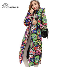 Dreawse Free Shipping New Autumn Winter Coat Design Padded Down Cotton Plus Size Slim Jacket Hooded Zipper Women Fashion MZ1738(China)