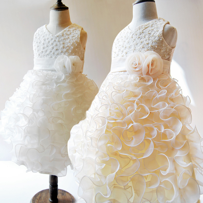 Girls Flowers Childrens Wedding Princess Dress White Champagne Dresses Kids Clothing<br>