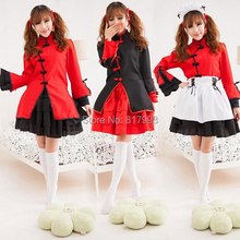 Chinese Style Dress lolita Cosplay Costume outfit women grils Clothing maid Uniform coat+skirt+apron+headdress 4pcs suit(China)