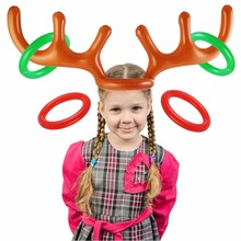 CCINEE 50PC Christmas Toy Children Kids Inflatable Santa Funny Reindeer Antler Hat Ring Toss Christmas Holiday Party Free EMS(China)