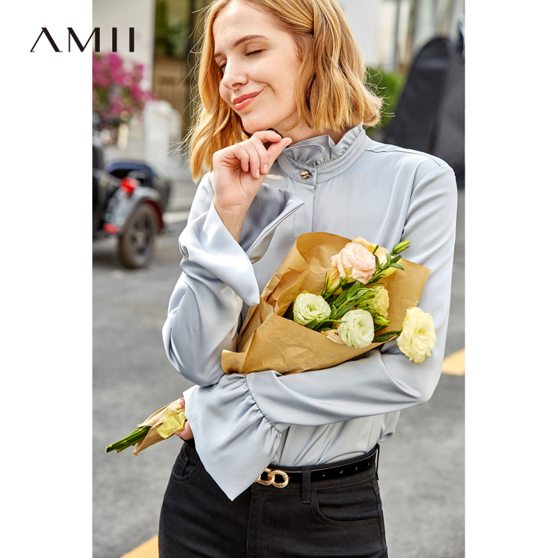 Amii Minimalist Women Shirts Spring 2019 Fashion Solid Butterfly Sleeve Floral Collar Satin Long Sleeve Female Black Blouse