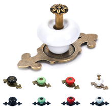 Furniture Kitchen Pull Handles Europe Ceramic Knob Door Cabinet Cupboard Drawer Locker Vintage Retro Small wooden cases knobs