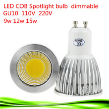 1X Free shipping 110V-220V 9W 12W 15W Dimmable GU10 COB LED lamp light led Spotlight White/Warm white led lighting