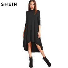 SHEIN Womens Dresses New Arrival Autumn Full Sleeve Dresses Black Cowl Neck Long Sleeve High Low Swing T-shirt Dress(China)