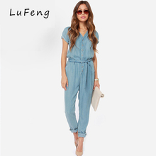 Spring New Casual V-Neck Denim Overalls Jumpsuit Loose Bodysuit Rompers Short Sleeve Womens Jeans long Female Jean 15150B653-923