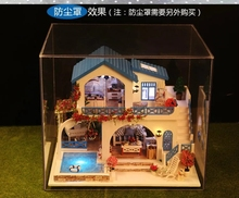 Blue & white town Large Villa Large DIY Wood Doll house 3D Miniature Dust cover+Lights+Furnitures Building model Home&Store deco