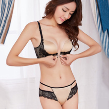 Buy New Sexy Lace Underwear Deep V Front Buckle Super Push Bra Set Women Adjusted Lingerie Underwear Sexy Brassiere Black