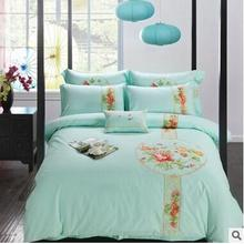 Chinese style traditional 4pcs peony flower embroidery home wedding quilt/duvet cover bed sheet bedding set Queen/King size/3724
