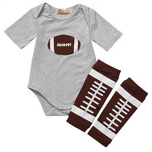 0-24M Newborn Baby Boys Short Sleeve Rugby Romper Tops+Leg Warmers Outfits Clothes Set Summer Autumn Cotton Gray Clothing(China)