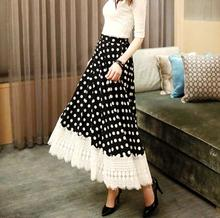 long lace skirt ankle length skirt shape A large hem chiffon dots soft material fashion free ship