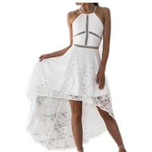 Buy Lace Elegant Women Wedding Party Sexy Night Club Dress Sleeveless Sheath Bodycon Dress Halter Neck Irregular Femme Gv415