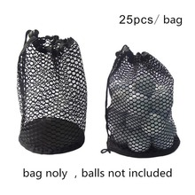 Free shipping Black Nylon Mesh Net Bag Pouch Golf Tennis 25pcs Balls Holder Hold Ball Storage Closure Training Aid Durable(China)