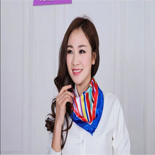 New fashion women's Work wear silk scarf print satin square scarf hotel bank work wear scarf 50*50cm 100 colors(China)