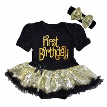 Baby Girl Clothing Sparkle First Birthday One , Heart , Hello Golde Sequin Black Bodysuit Tutu and Headband 0-18M